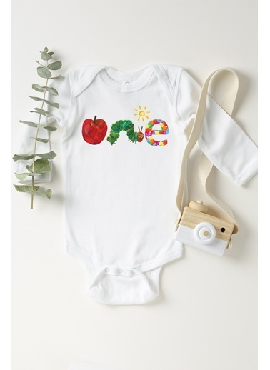 Happy Onesie Co 1 Yaş Elma Kurdu Çıtçıtlı Bebek Body Beyaz